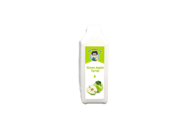 a white bottle of Bubble Tea Green Apple Syrup Ingredient