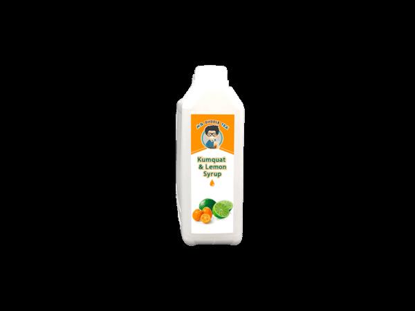 a white bottle of Bubble Tea Kumquat Lemon Syrup