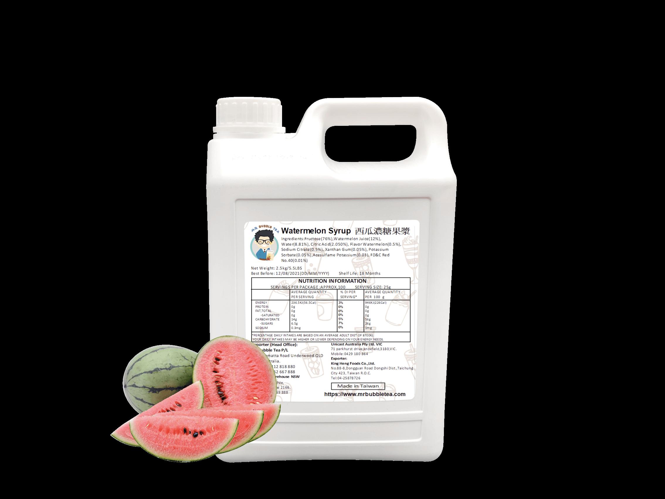 2.5 kg bottle of Watermelon Bubble Tea Syrup