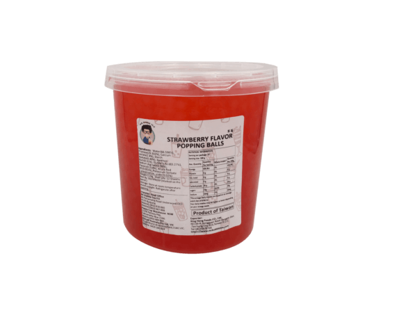 3.2 kg container of Strawberry Popping Balls - Bubble Tea Warehouse Toppings Supplier